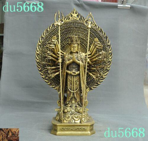 Tibet temple Bronze Brass 1000 Arm Guanyin Avalokitesvara Kwan-Yin Buddha Statue