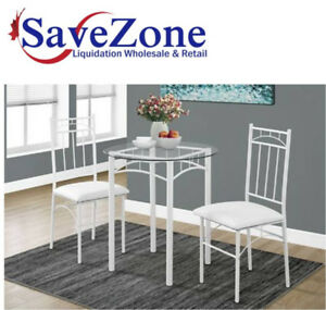 NEW in box- White Metal/ Tempered Glass Dining set 3 piece