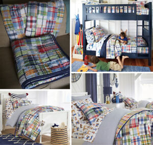 Pottery Bar Kids Madras Quilted Bedding