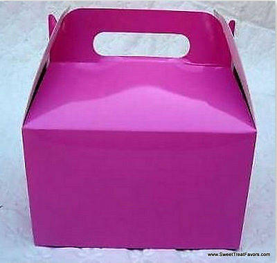 HOT PINK Party Supplies BOXES Birthday Decoration GABLE Loots x12 Bag FUSHIA - Pink Gable Boxes