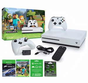 NEW XBOX ONE S 500 GB MINECRAFT MEGA BUNDLE 2 CTRLS 3 MTHS LIVE
