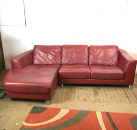 Red Leather Corner Sofa - Left Hand Section in 2 Parts