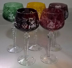 Vtg.Bohemian Czech Ajka Cut To Clear Crystal Colorful Goblets