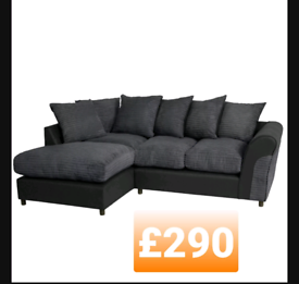 Corner sofa. FABRIC AND LEATHER