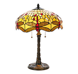 """2 Amber Tiffany Style 22"""" Hanging Head Dragonfly Table Lamps NEW"""