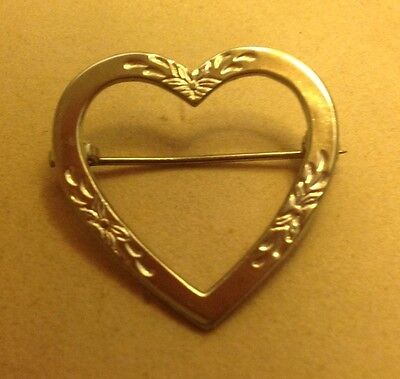 Rare Antique Solid Sterling Silver Etched Heart Pin Napier Circa 1923 Gift Box