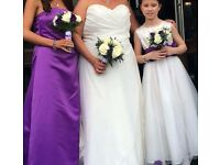 Ivory wedding dress size 18 also bridesmaid and flower girl dress.