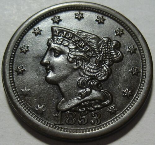 = 1853 BU+ Half Cent, Better Grade, FREE Shipping