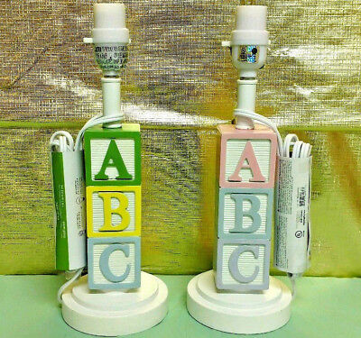Nursery Lamp Baby Room Decor ABC Wooden Blocks Toy Girl Boy Pink Blue -