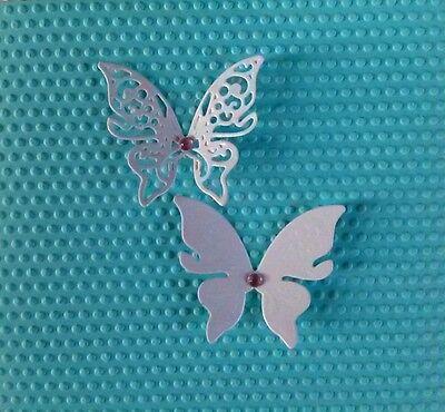 20St.weiß Kartenschmuck Kartenaufleger Schmetterling Scrapbooking Basteln Papier