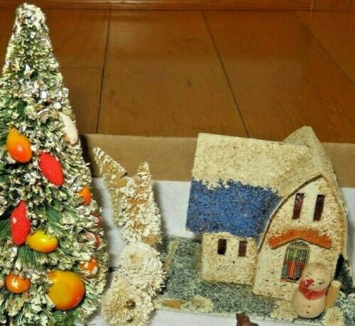 Antique HOUSE Christmas Village Paper Mache Cardboard Germany Sleigh (T346