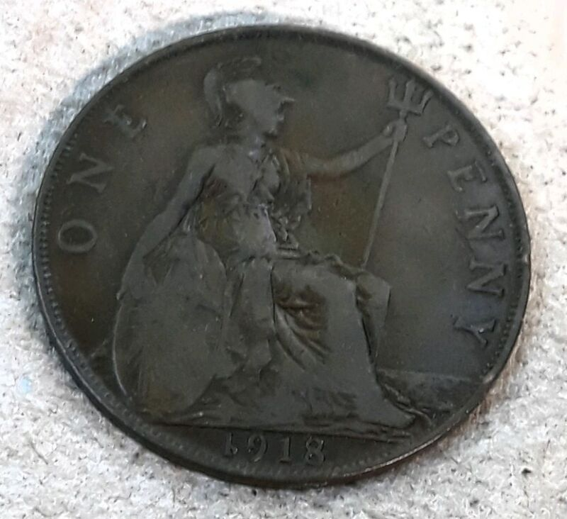 Great Britain UK England 1918 Old Coin One 1 Penny Vintage United Kingdom George