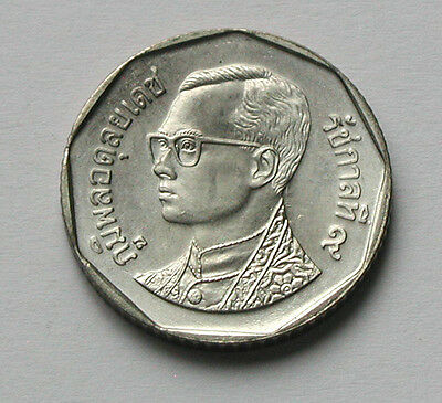 2535 (1992) THAILAND Rama IX Thai Coin - 5 Baht - The Marble (Buddhist) Temple
