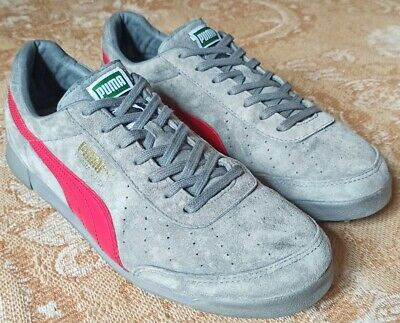 PUMA TRIMM QUICK GREY / RED SUEDE TRAINERS - UK 9 / EU 43 - EXCELLENT CONDITION