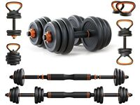 NEW THERUN Adjustable Dumbbells Set, Free Weights with Bar, 6 in 1 Barbell Kettlebell Weight Set