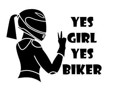 [Lot de 2] Autocollant Stickers Moto Voiture Motarde 'Yes Girl Yes Biker' Noir