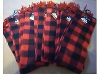 Joblot of 6 Unisex Red and Black Check Scarves BNWT