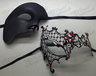 His & Her Couple Masquerade Mask, Black Themed Phantom Mask [Red Rhinestones] - Masquerade Themes