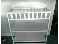 White wood baby changing station