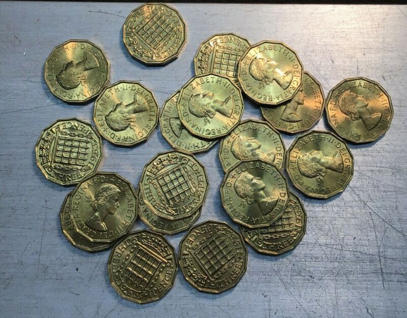 Lot Of 20 English Three Pence Coins 1963