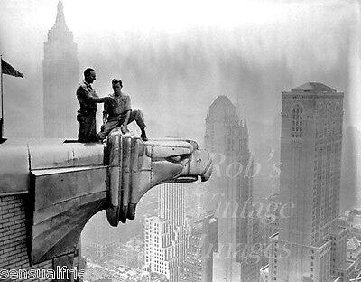 Vintage New York City photo Skyscraper Gargoyle Empire State Bldg behind print