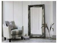 Carved Louis Leaner Silver Mirror