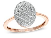 1/8 CT. T.W. Diamond Oval Striped Ring in 10K Rose Gold