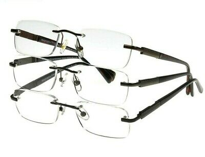 Design Optics By Foster Grant Men's Readers Rimless 3 pack Reading Glasses (Design Optics Readers)