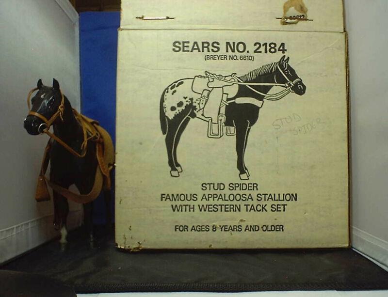 "VINTAGE BREYER ""SEARS"" #2184 STUD SPIDER APPALOOSA HORSE W/TACK IN 1970"