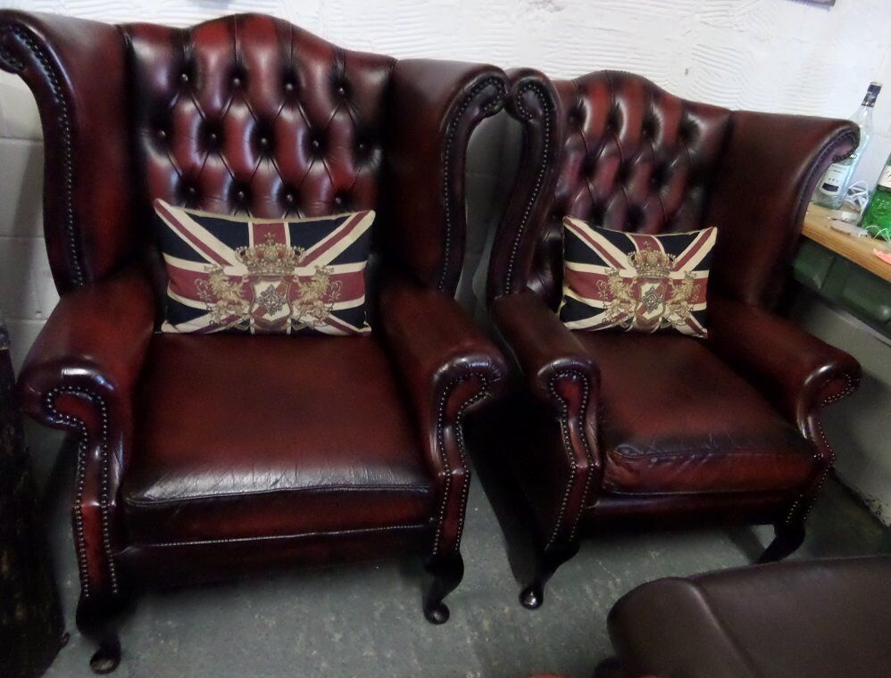 Stunning Pair Of Chesterfield Queen Anne Wing Back Chairs Oxblood Red Leather - UK Delivery
