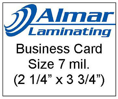 100 Business Card Size Laminating Pouches 7 Mil.