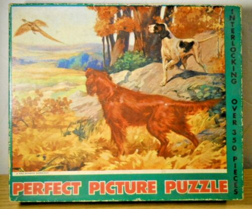 1957 COMPLETE Perfect Picture Puzzle 350+ PRE-SEASON WORKOUT Hunting Dogs Forest