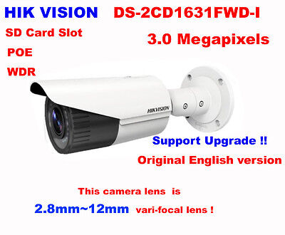 Hikvision DS-2CD1631FWD-I 3MP IP IR POE Network 2.8~12mm Manual 120dB WDR Camera