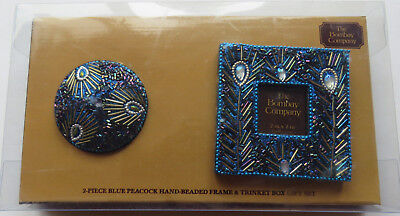 NIP The Bombay Company Frame and Trinket Box Gift Set Blue Peacock Hand Beaded