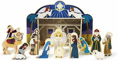 Melissa & Doug Wooden Nativity Set Includes: 4 Piece Stable and 11 Fgrs Sealed