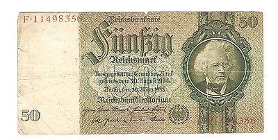 Banknote Geldschein Deutschland Deutsches Reich 50 Mark 1933 Ro. 175b
