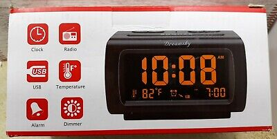DreamSky Alarm Clock Radio with FM Radio, temp, USB Port for Charging, 1.2 Inch