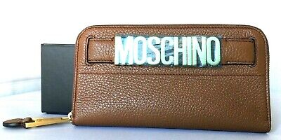 AUTH NWT $630 MOSCHINO Women's Logo Lettering Leather Zip Around Wallet Clutch