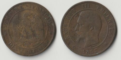 1857 BB France 10 centimes coin