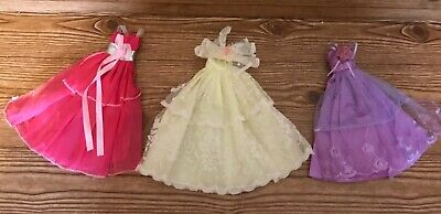 lot of 3 barbie style doll gowns pink, yellow, purple