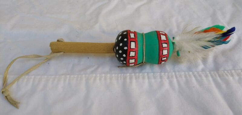 """Vintage Hopi Native American Dance Rattle Wood Painted Gourd Approx. 6.5"""" tall"""