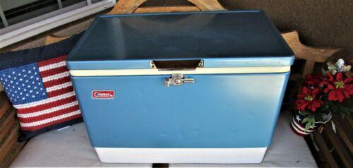 Vintage 1970s COLEMAN Blue Metal Ice Chest 23 x 16