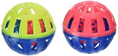 2 Pack Pet Cat Play Balls , Round Play Ball Bell Pounce Chase Rattle Chew Toys