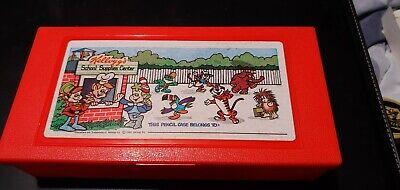 1980 Vtg RED Kellogg's Cereal Pencil Case Box Snap Crackle Pop Tony Tiger Toucan