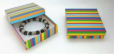 6 Rainbow Stripes Jewelry Gift Boxes Cotton Filled 3.5x3.5x1 Bracelet Box