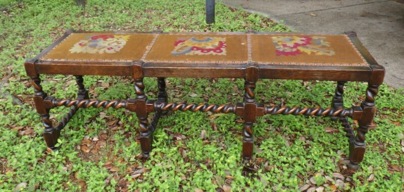 """ANTIQUE FRENCH MANDEL BROTHERS NEEDLEPOINT BARLEY TWIST BENCH 53"""" LONG"""