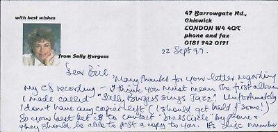 Sally Burgess. Operatic lyric mezzo-soprano. Signed Letter  AF.861
