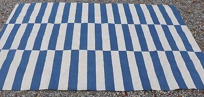 ABC CARPET & HOME BLUE & CREAM COLOR BLOCK COTTON RUG LARGE 6' X 9'  for sale  Brooksville