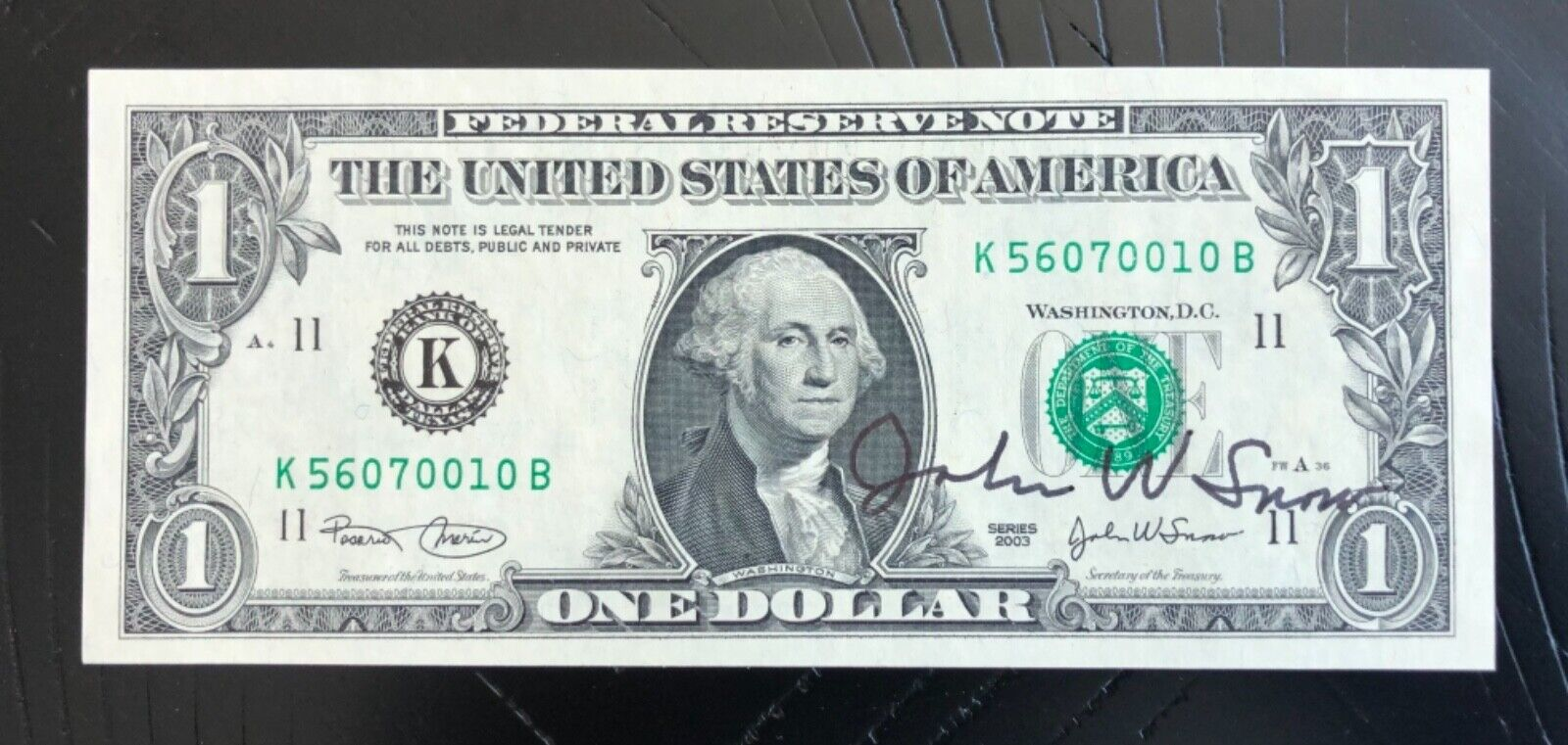 1 2003 Courtesy Autographed Note - Signed By John Snow - $49.00