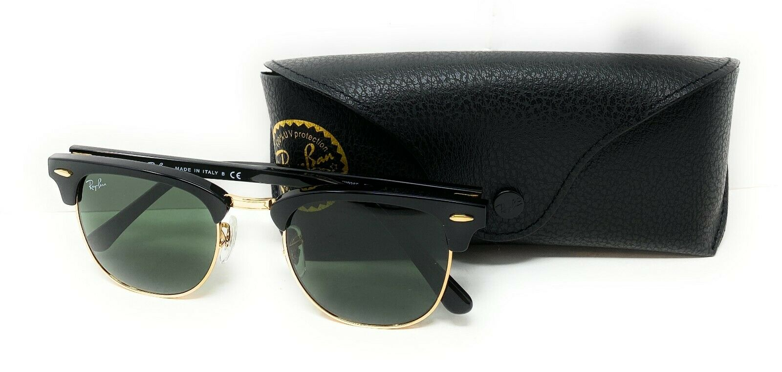 RAY BAN CLUBMASTER Green Classic G-15 Lens, Black Frame, RB3016 Sunglasses 51/21 Clothing, Shoes & Accessories